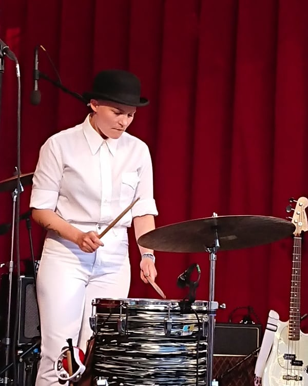 Maria Jutunen playing the drums. Nelson Can, 'Lille fredag' - 31 May, 2018, Orangeriet, Tivoli.