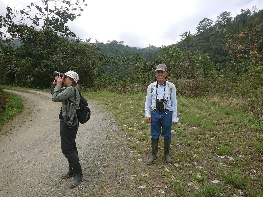 Birding med Baldomiro. Adgangsvejen til Umbrellabird Lodge. Buenaventura, Ecuador.