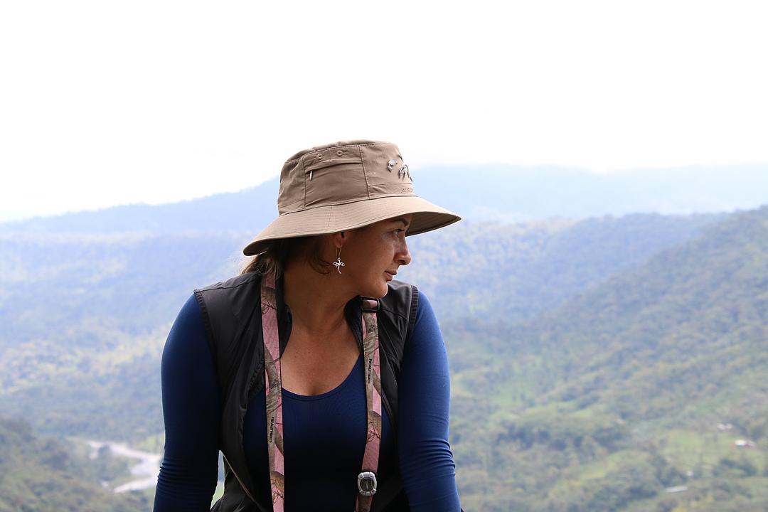 Sandra. Vores fremragende guide. Mirador Río Blanco, San Miguel de Los Bancos Ecuador.