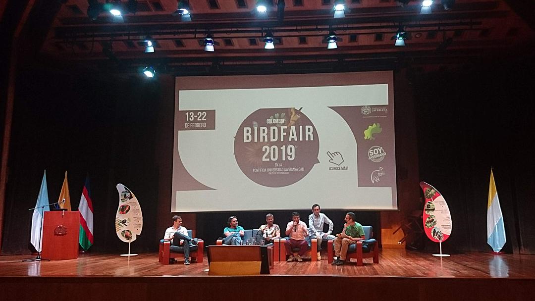 Efter visning af dokumentaren The Birders var interview med bl.a. medvirkende og instruktøren. Colombia Birdfair 2019, Cali, Colombia.