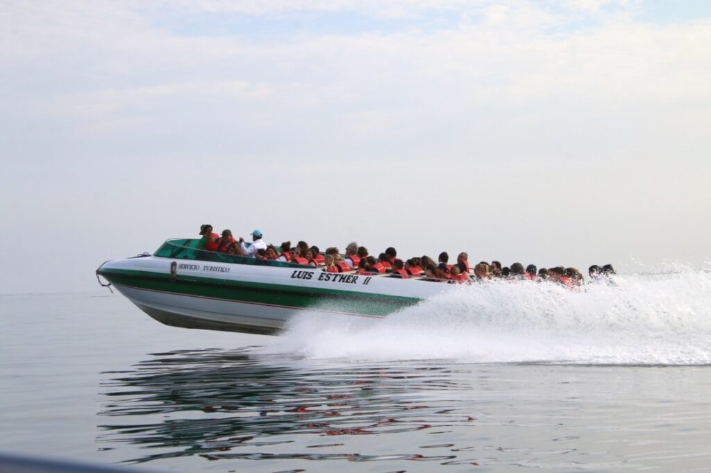 On the trip to the Ballestas Islands you will go on fast-sailing motorboats. Pacific Ocean, Paracas, Peru.